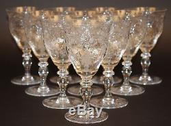 10 Hawkes Gravic Cut Glass Wine/water Goblets/stems Signed! Pattern
