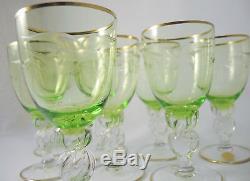 10 Vintage Danish Lyngby Crystal Green White Wine glasses Seagull Design