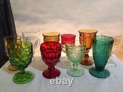 10 Vintage Mismatched Wine Glass Water Goblets Glasses Gem Tone Colorful #32