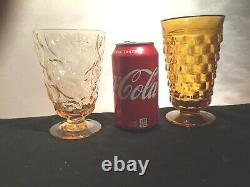 10 Vintage Mismatched Wine Glass Water Goblets Glasses Green Gold #179