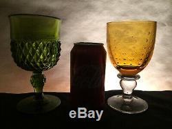 10 Vintage Mismatched Wine Glass Water Goblets Glasses Green Gold #182