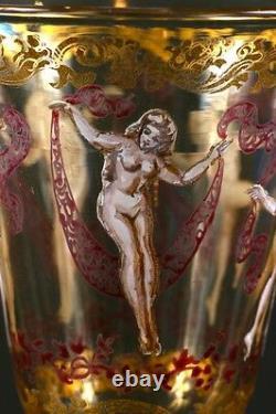 10 Vintage Venetian Hand-Painted Dancing Ladies Cordial Glasses