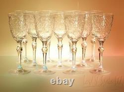 11 Seneca Ornately Cut Glass Floral & Leaves 7 Wine Glasses-#4805-1