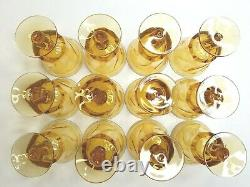 12 Fostoria Jamestown Amber Vintage 5 7/8 Swirl Water Goblet Elegant Glass Set