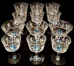 12 Salviati & Co. Murano Glass Hand Etched Champagne Coupe / Wine Goblet Vintage