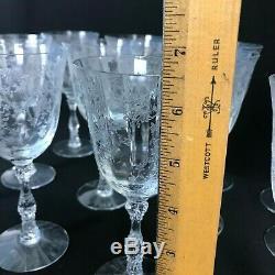 12 Vintage Fostoria Navarre Etched Lg Claret Wine Glasses Elegant Glass 6-1/2