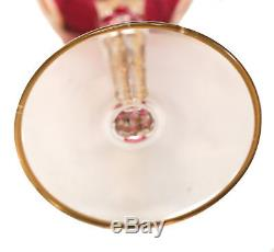 12 Vintage Venetian Cranberry Art Glass Wine Glasses, Swag Gilt Designs