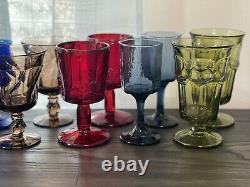 12 Vintage Wine Glasses Water Goblets Multicolored Mismatch Glasses