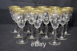12pc Vintage Tiffin Franciscan Clear Optic GOLD BANDS Wine Glasses, Stem #15042
