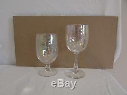 15 Vintage Crystal IRIDESCENT Mother Pearl WATER WINE Stemware Glasses Goblets