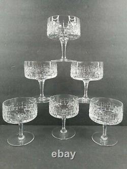 18 Moser Crystal Wine Sherbet Glasses Set Vintage Clear Bohemian Barware RARE