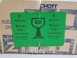 18 Vintage Zwiesel Schott Crystal Wine Glasses Ruwer Green Original Box E/0002