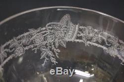 18pc Vintage Etched Glass ROSES BASKET Wine & Champagne Glasses & Dessert Plates
