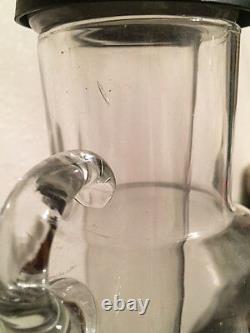 1930's VINTAGE ANTIQUE DOUBLE DAHLIA GLASS IRON WINE DECANTER COLLECTIBLE RARE