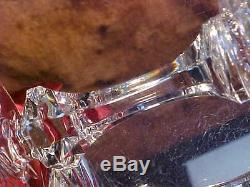 1960's CUT GLASS Crystal Footed Decanter 6 RING STEM Wine Glasses PANEL CUT WOW