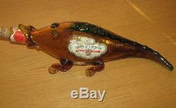 1967 ORVIETO NELLO GORI Alligator Hand-Made Amber Crackle Glass Wine Bottle VTG