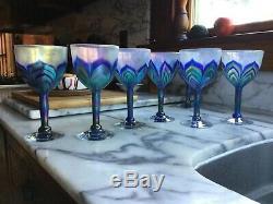 1970's Vintage Studio Art Glass 7 Wine Glasses Unsigned Lundberg Studios