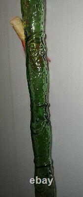 1978 VTG 45 Italian Wine Fish Shaped Green Glass Chianti Bottle, Wicker Basket