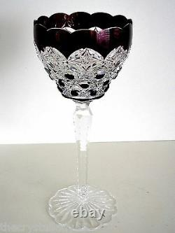 1 Val St Lambert Dark Ruby Red Cased To Clear Lead Crystal Wine Goblet Vintage