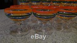 27 vintage crystal striped wine/champagne/waters glasses