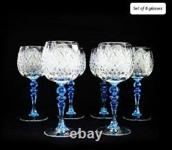 280ml/9.5oz Vintage handmade Cut Crystal Green Stem Wine Glasses, Set of 6 glass
