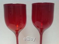 2 Vintage Josh Simpson Amberina Art Glass Wine Stems Goblets Signed 1981 8.25