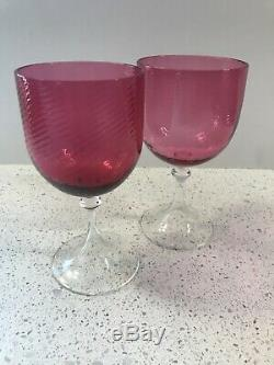 2 Vintage Nason Moretti Murano Gotici Wine Goblet Glasses Cranberry Crystal