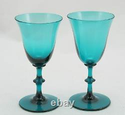 2x Antique 19th C. White Wine Glass, circa 1830, turquoise crystal