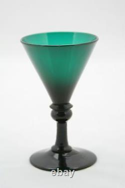 2x an elegant, antique 18th C. White Wine Glass, blue green / petrol crystal
