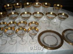 32 Pc Set Vtg Tiffin Rambler Rose Gold Encrusted Wine Glass Plates, Bowls