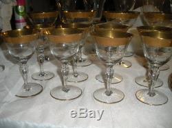 32 Pc Set Vtg Tiffin Rambler Rose Gold Encrusted Wine Glass Plates, Bowls, More