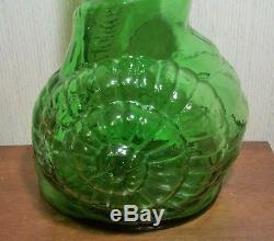 33 SNAIL BOTTLE vtg italian emopli wine art glass sculpture mcm escargot shell