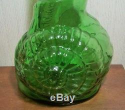 33 SNAIL BOTTLE vtg italian emopli wine art glass sculpture mcm escargot shell