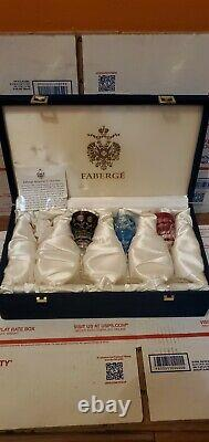 3 FABERGE Colorful CRYSTAL Cordial wine GLASSES Art Glass with Original Box