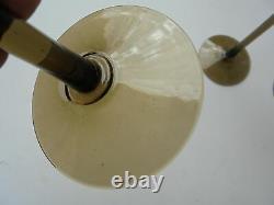 3 Vintage Carlo Moretti Murano Glass Smoke Tall Water Wine Goblets 9