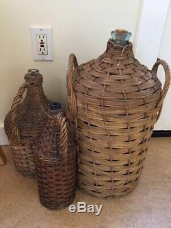 3 Vintage French Demijohns Pre-1900s Wicker Wrapped Wine Glass Bottles