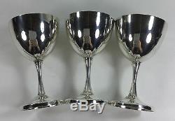 3 Vintage Sterling Silver Wine Glasses Goblets Metasco Mid Century