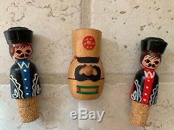 3 Vintage wicker glass bottles with cork stopper Wine bottle Wrapped in Plastic