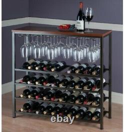 40-Bottle Floor Bar and Wine Rack Storage Wood with Glass Hanger, Antique Bronze