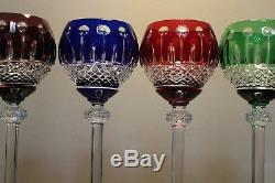 (4) Four Ajka King Louis Bohemian Cut To Clear Hock Wine Glass Vintage Mint
