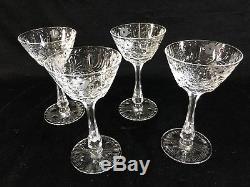 (4) Seneca CRYSTAL 5.25 WINE GLASSES Berkeley Bowl CUT #779 with STEM #1936