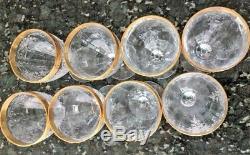 4 Tiffin Franciscan MELROSE GOLD Wine Glasses Etched Crystal Gold Trim Vintage