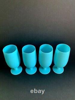 4 VINTAGE 1930's PORTIEUX VALLERYSTHAL BLUE OPALINE 7 WATER WINE GOBLET