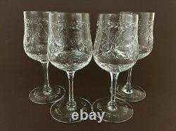4 VTG Seneca Signed Dorchester SENDORC Cut Crystal Floral Wine Glasses 6 3/8'