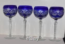 4 Vintage AJKA Bohemian Fan Cobalt Blue Cased Cut to Clear Wine Goblets-8.5H