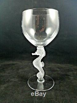 4 Vintage Art Deco, Bayel Frosted Seahorse Stem Claret Wine Glasses, 7, France