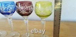 4 Vintage Bohemian Czech Crystal Cut To Clear Wine Goblets