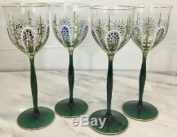 4 Vintage Enameled Theresienthal Moser Style Cactus Stemware Wine Glasses