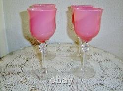 4 Vintage French Pink Swirl Opaline 8 Inch Wine Glass Stem