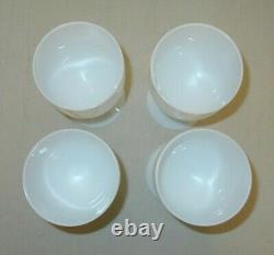 4 Vintage French Portieux Vallerysthal White Opaline Wine Water Goblets (b4)